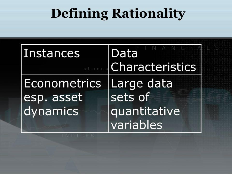 Defining Rationality InstancesData Characteristics Econometrics esp.