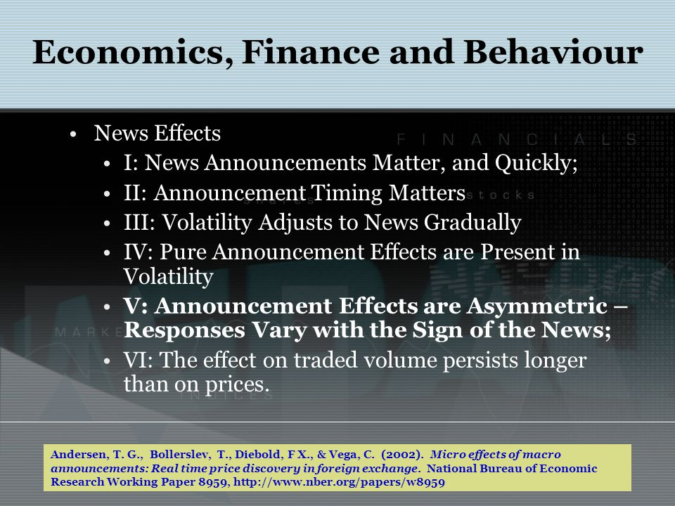 News Effects I: News Announcements Matter, and Quickly; II: Announcement Timing Matters III: Volatility Adjusts to News Gradually IV: Pure Announcemen