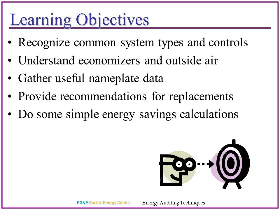 Control Measures On/off Setbacks Demand Control Ventilation Energy Auditing Techniques