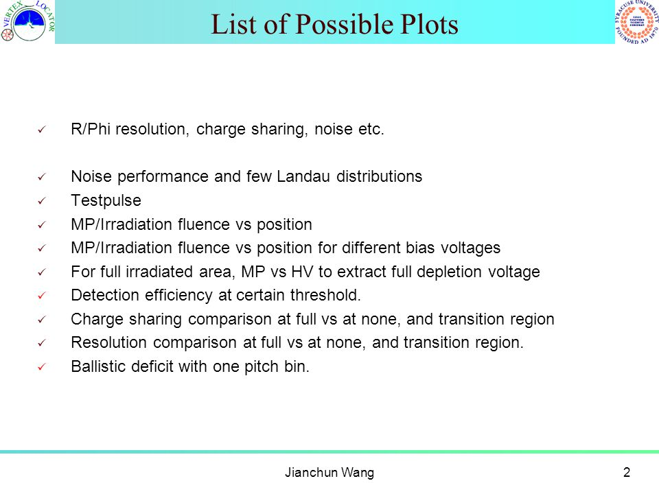 List of Possible Plots R/Phi resolution, charge sharing, noise etc. Noise performance and few Landau distributions Testpulse MP/Irradiation fluence vs