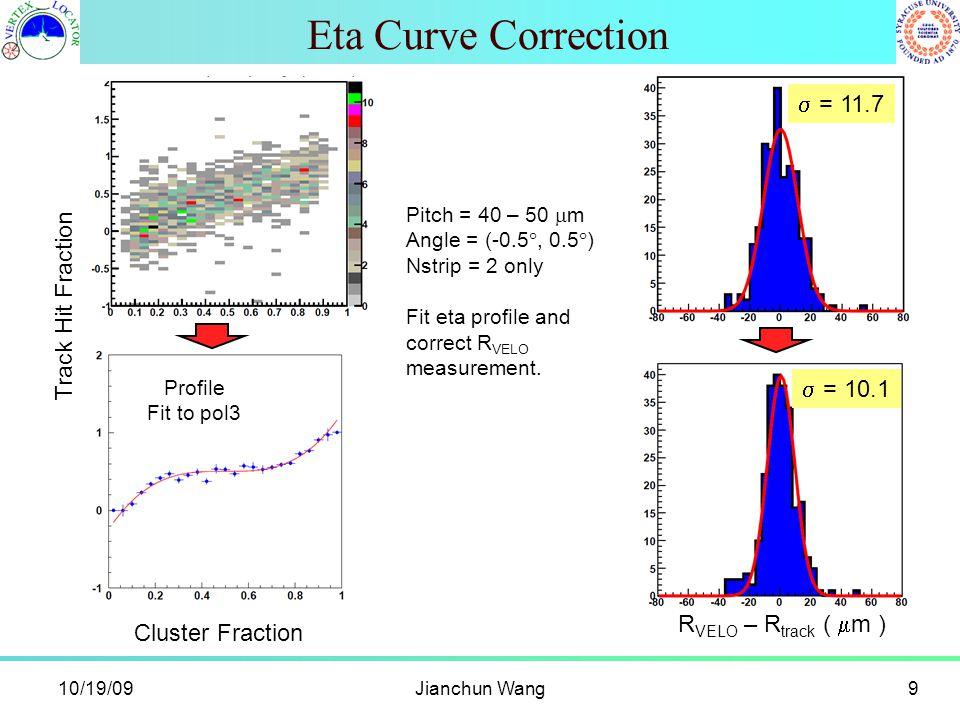 Eta Curve Correction 10/19/09Jianchun Wang9 Pitch = 40 – 50  m Angle = (-0.5 , 0.5  ) Nstrip = 2 only Fit eta profile and correct R VELO measurement.