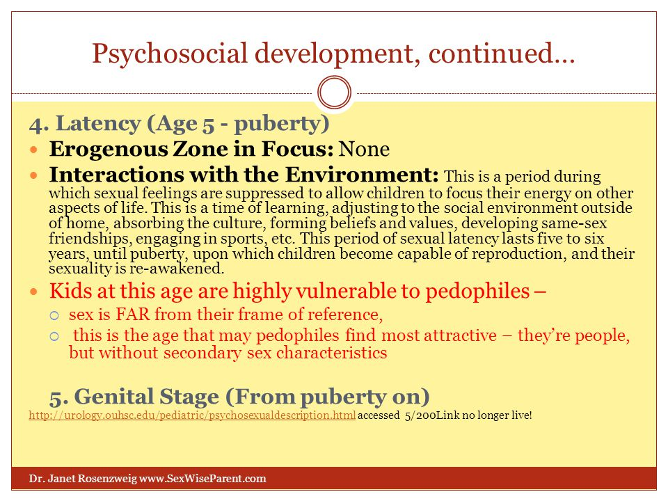 Psychosocial development, continued… Dr. Janet Rosenzweig www.SexWiseParent.com 4. Latency (Age 5 - puberty) Erogenous Zone in Focus: None Interaction