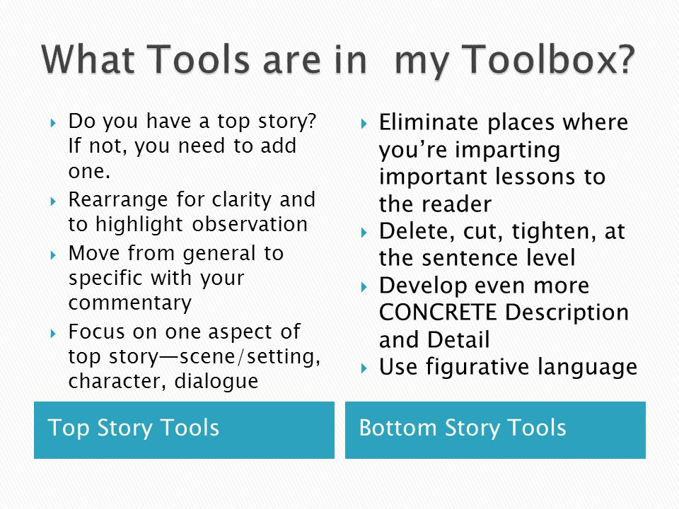 Top Story ToolsBottom Story Tools  Do you have a top story.