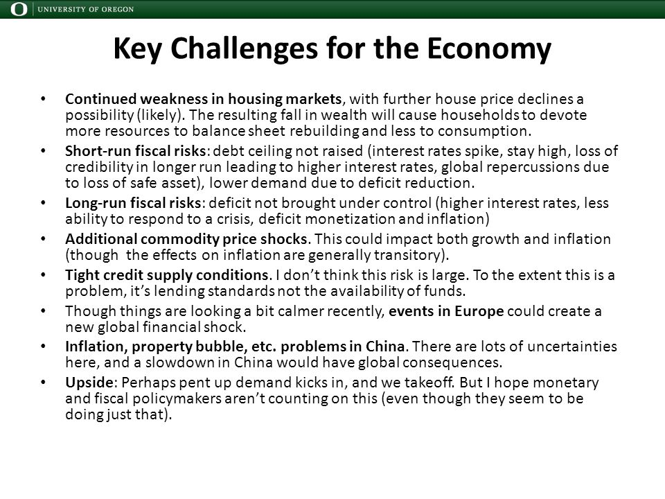Key Challenges for the Economy Continued weakness in housing markets, with further house price declines a possibility (likely).