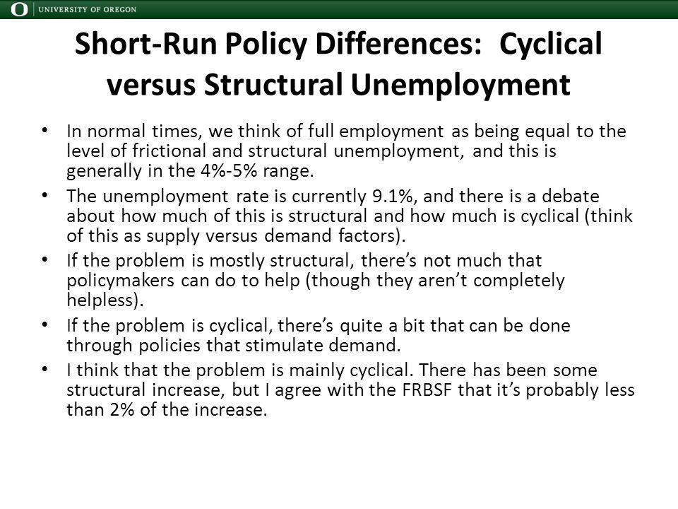 Short-Run Policy Differences: Cyclical versus Structural Unemployment In normal times, we think of full employment as being equal to the level of frictional and structural unemployment, and this is generally in the 4%-5% range.