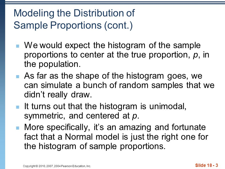 Copyright © 2010, 2007, 2004 Pearson Education, Inc. Slide 18 - 3 Modeling the Distribution of Sample Proportions (cont.) We would expect the histogra