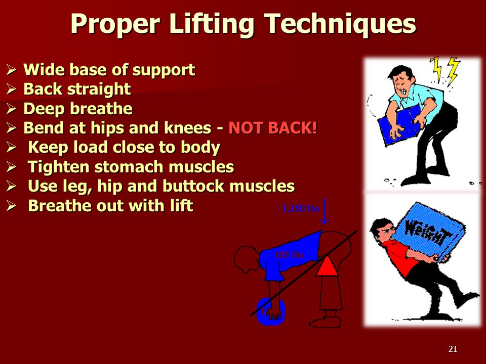 21 Proper Lifting Techniques  Wide base of support  Back straight  Deep breathe  Bend at hips and knees - NOT BACK!  Keep load close to body  Ti