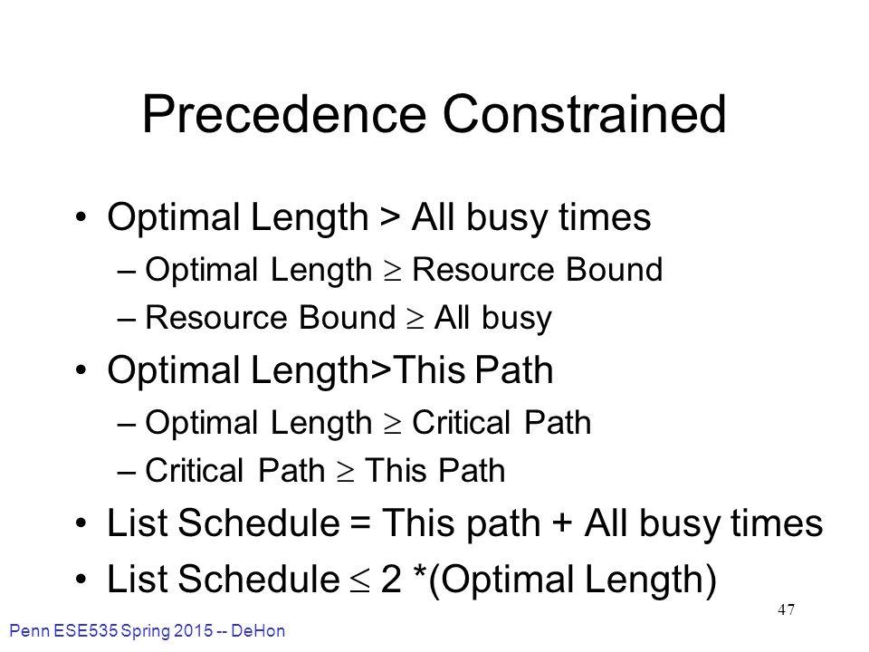 Penn ESE535 Spring 2015 -- DeHon 47 Precedence Constrained Optimal Length > All busy times –Optimal Length  Resource Bound –Resource Bound  All busy Optimal Length>This Path –Optimal Length  Critical Path –Critical Path  This Path List Schedule = This path + All busy times List Schedule  2 *(Optimal Length)