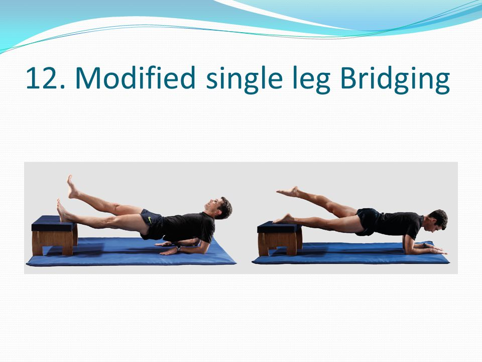 12. Modified single leg Bridging