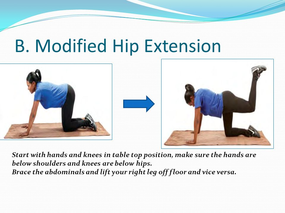 B. Modified Hip Extension Start with hands and knees in table top position, make sure the hands are below shoulders and knees are below hips. Brace th