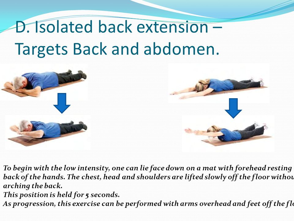 D. Isolated back extension – Targets Back and abdomen. To begin with the low intensity, one can lie face down on a mat with forehead resting on back o