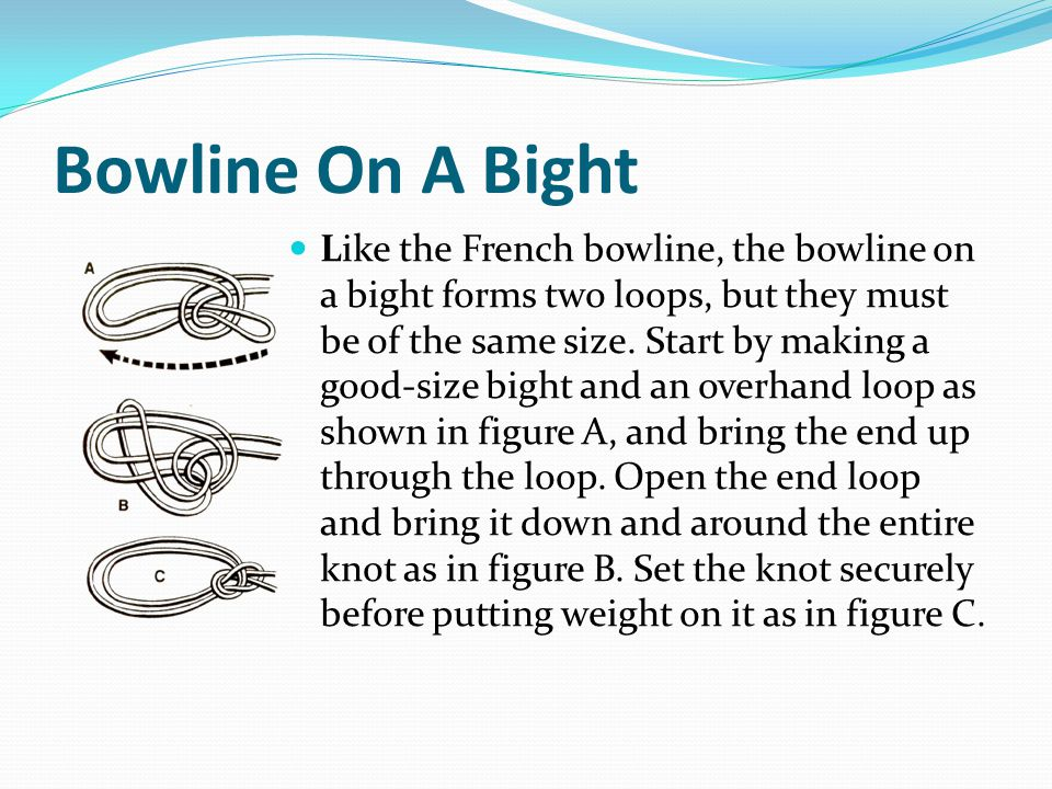 Bowline On A Bight Like the French bowline, the bowline on a bight forms two loops, but they must be of the same size.