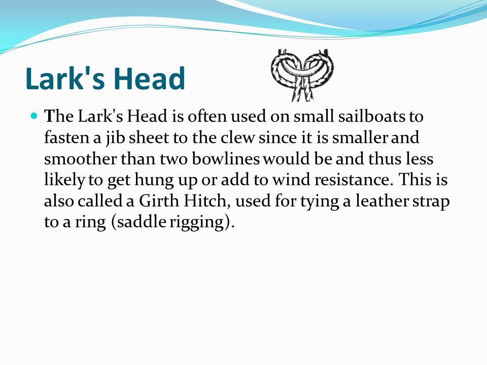 Lark s Head The Lark s Head is often used on small sailboats to fasten a jib sheet to the clew since it is smaller and smoother than two bowlines would be and thus less likely to get hung up or add to wind resistance.