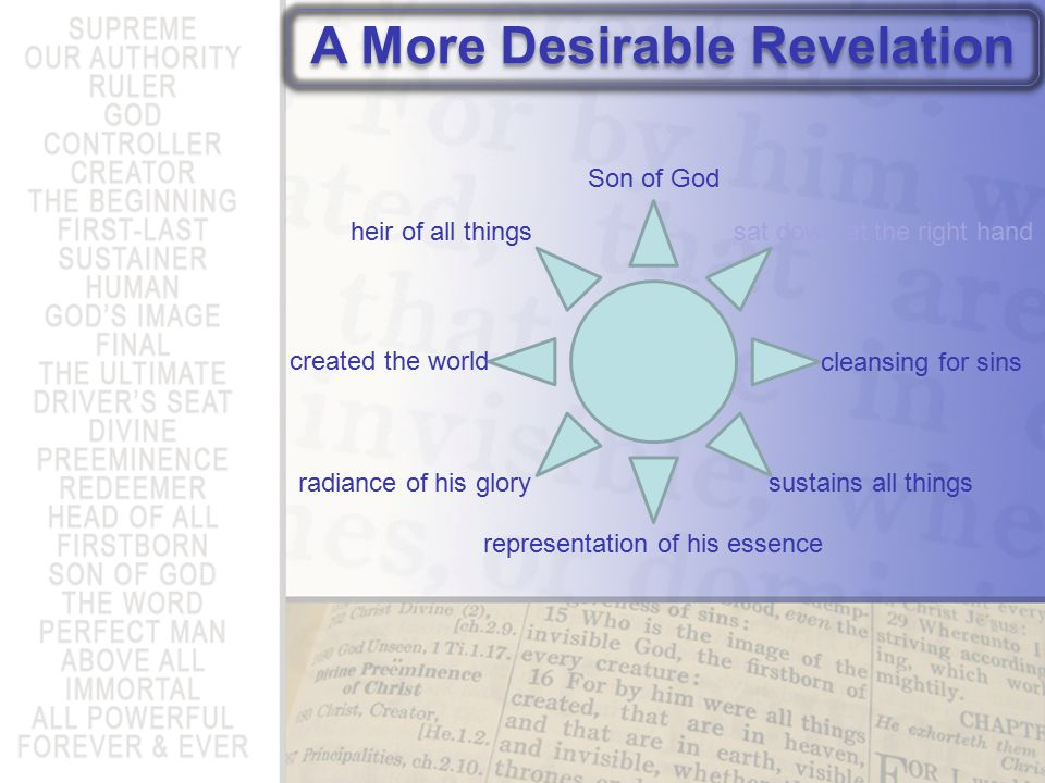 A More Desirable Revelation heir of all things created the world radiance of his glory representation of his essence sustains all things cleansing for sins sat down at the right hand Son of God