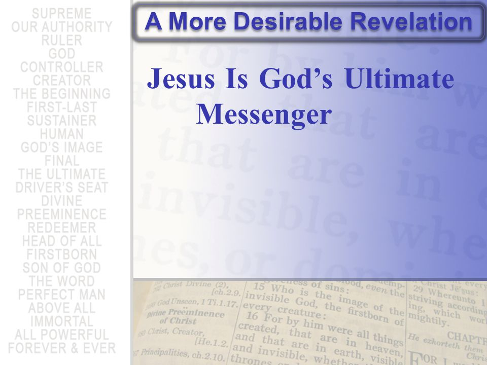 1 After God spoke long ago in various portions and in various ways to our ancestors through the prophets, 2 in these last days he has spoken to us in a son, Hebrews 1:1-2a (NET Bible)