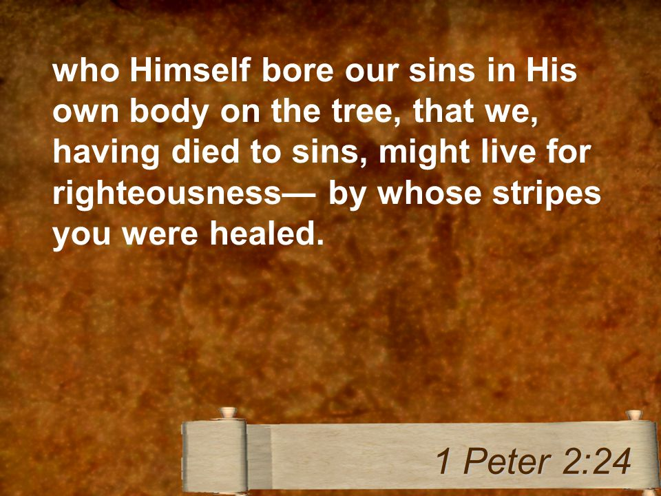 who Himself bore our sins in His own body on the tree, that we, having died to sins, might live for righteousness— by whose stripes you were healed.