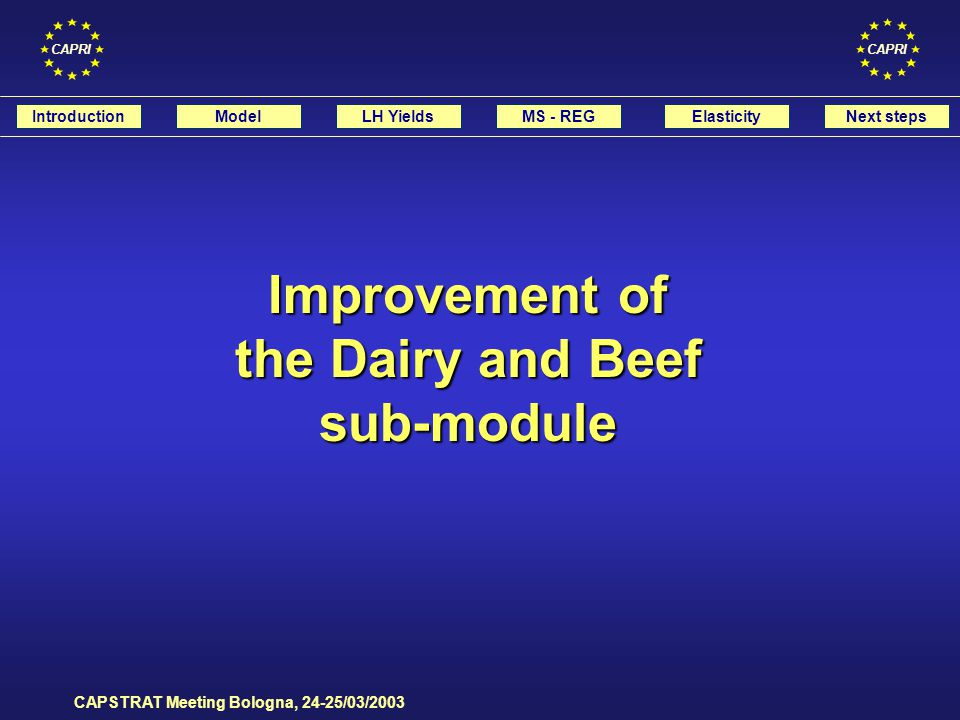 CAPRI CAPSTRAT Meeting Bologna, 24-25/03/2003 t t+1t+2 COWS BULF HEIF HEIR CAMR CAFR CAMF CAFF LEVL t = SLGH t + EXPL t – IMPL t IntroductionModelLH YieldsMS - REGElasticityNext steps MODELISATION