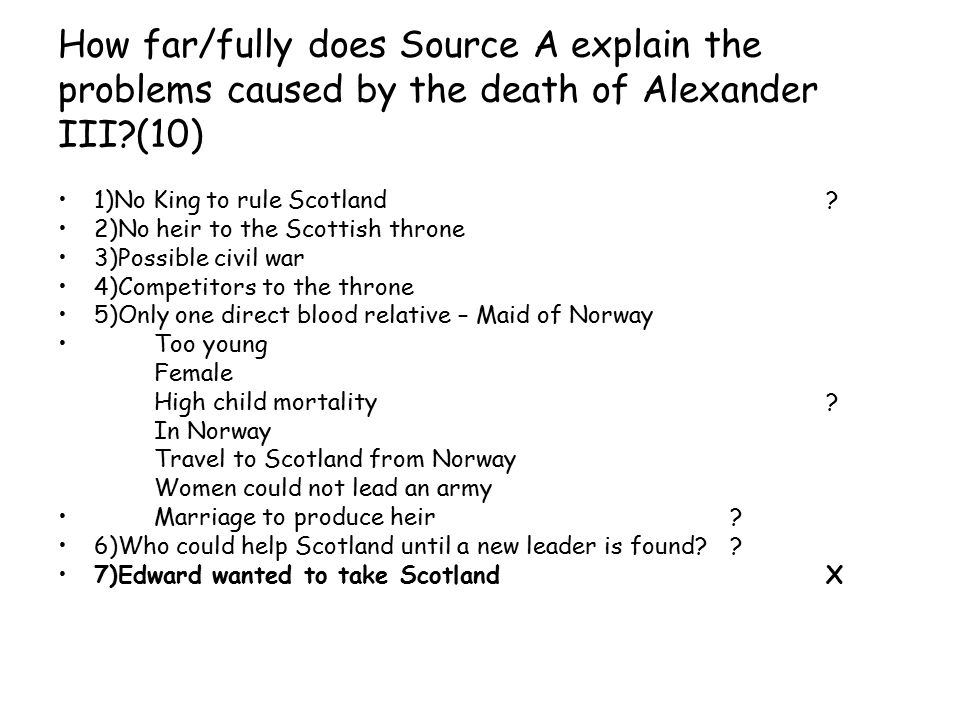How far/fully does Source A explain the problems caused by the death of Alexander III.