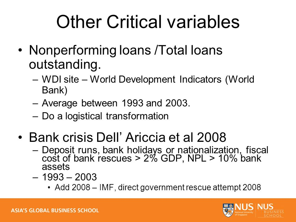 Other Critical variables Nonperforming loans /Total loans outstanding.