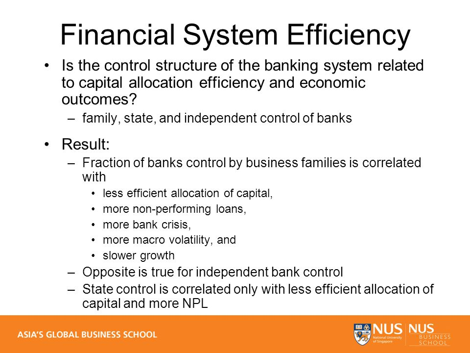 Financial System Efficiency Is the control structure of the banking system related to capital allocation efficiency and economic outcomes.