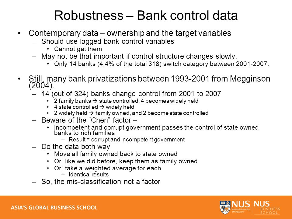 Robustness – Bank control data Contemporary data – ownership and the target variables –Should use lagged bank control variables Cannot get them –May not be that important if control structure changes slowly.