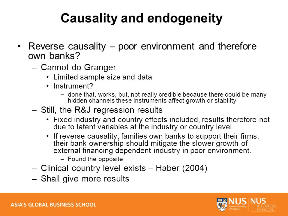 Causality and endogeneity Reverse causality – poor environment and therefore own banks.