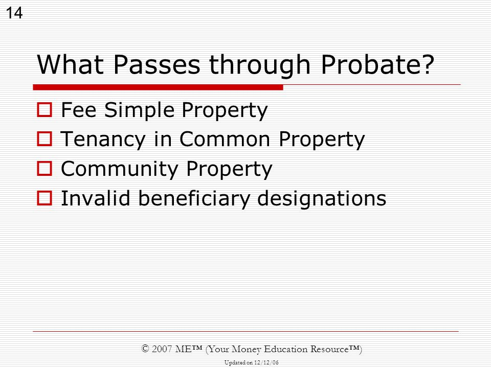14 © 2007 ME™ (Your Money Education Resource™) Updated on 12/12/06 What Passes through Probate.