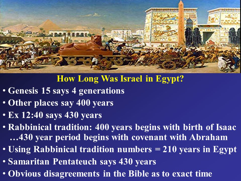 How Long Was Israel in Egypt.