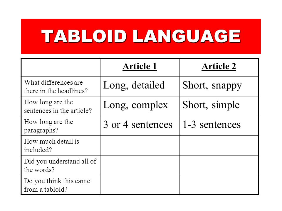 TABLOID LANGUAGE You are now going to look at an article from two different newspapers. The article is about the same topic, but you will notice great