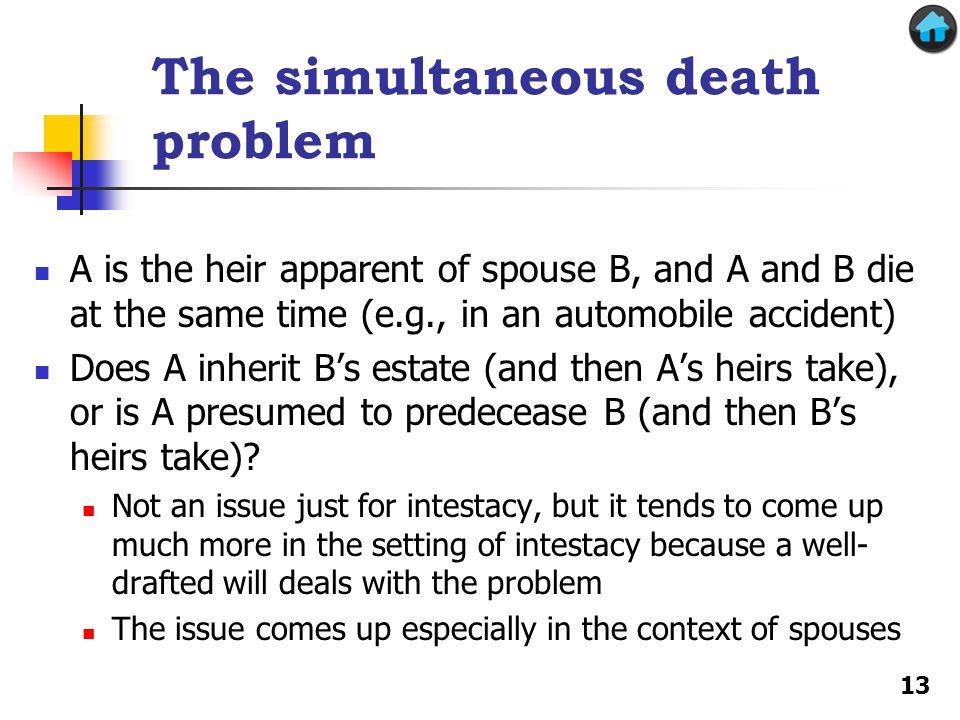 The simultaneous death problem A is the heir apparent of spouse B, and A and B die at the same time (e.g., in an automobile accident) Does A inherit B's estate (and then A's heirs take), or is A presumed to predecease B (and then B's heirs take).