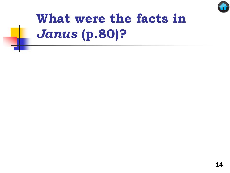 What were the facts in Janus (p.80)? 14