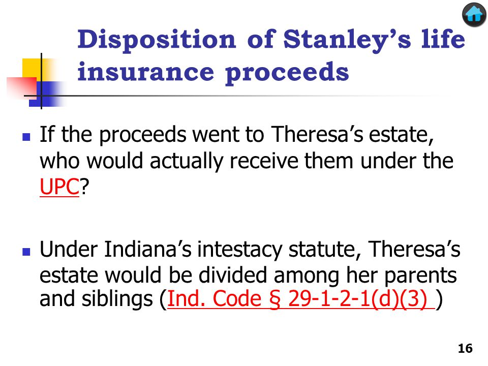 Disposition of Stanley's life insurance proceeds If the proceeds went to Theresa's estate, who would actually receive them under the UPC.