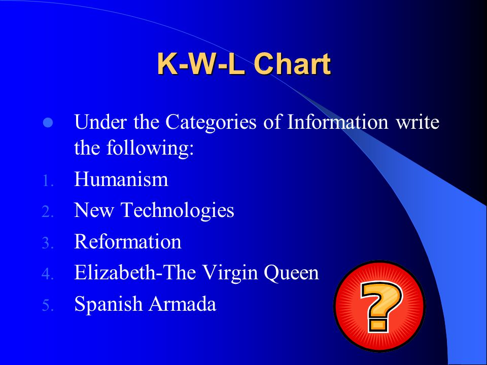 K-W-L Chart Next, fill out the What I Want to Know based on the information given.