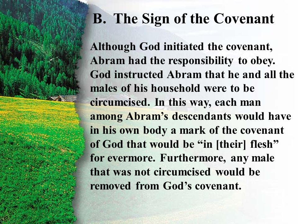 II. Covenant Given B B.The Sign of the Covenant Although God initiated the covenant, Abram had the responsibility to obey. God instructed Abram that h