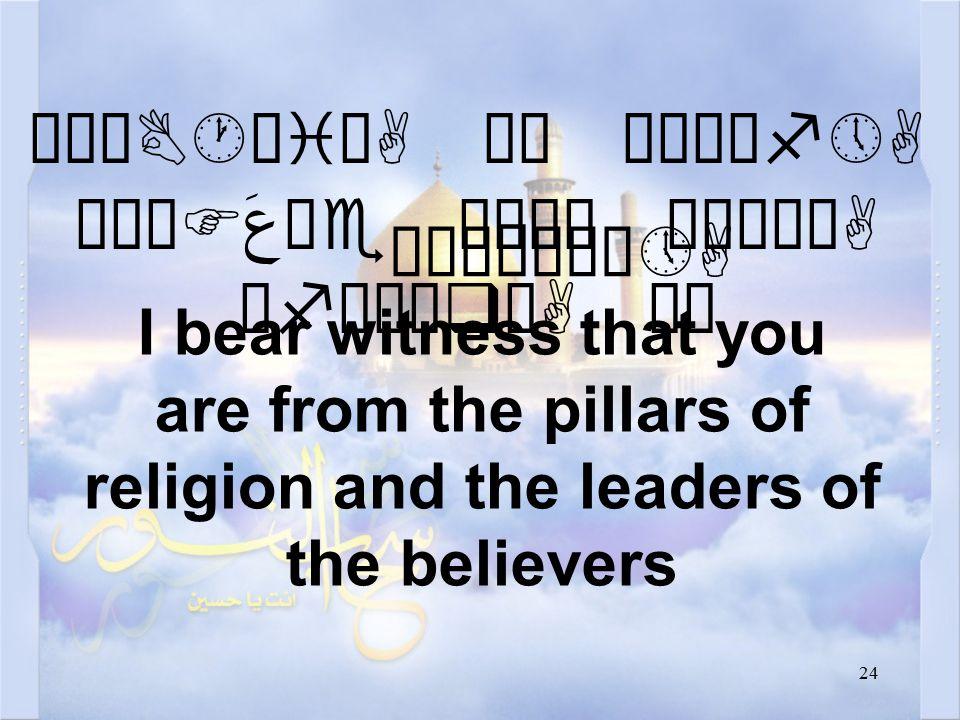 """24 äøÆB·æiòA äË øÅÍìf»A øÁÖF عَ äe æÅê¿ ò¹ìÃòA åfäÈæqòA äË I bear witness that you are from the pillars of religion and the leaders of the believers """"ÄÀ Ö åÀô»A"""