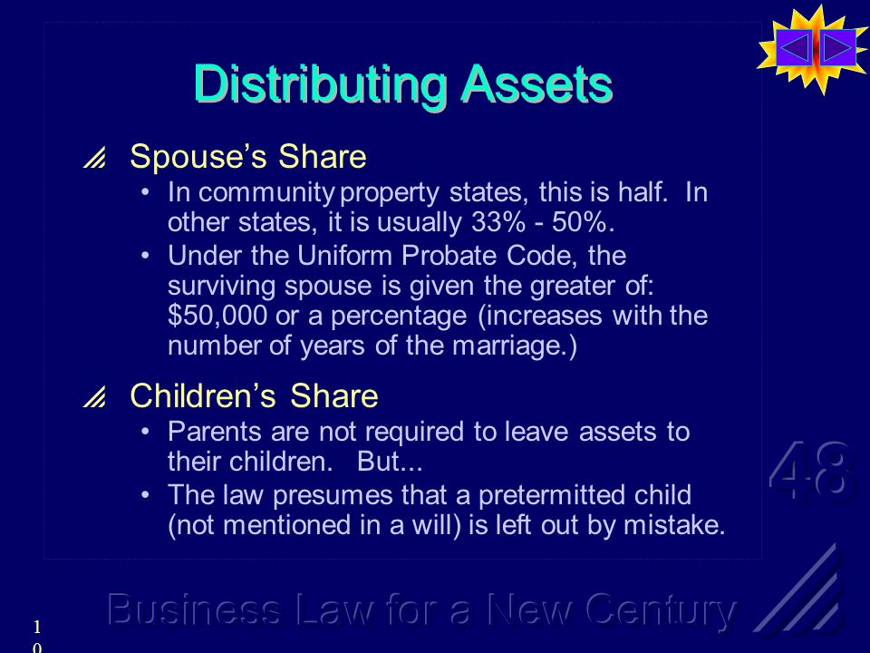 10 Distributing Assets  Spouse's Share In community property states, this is half.