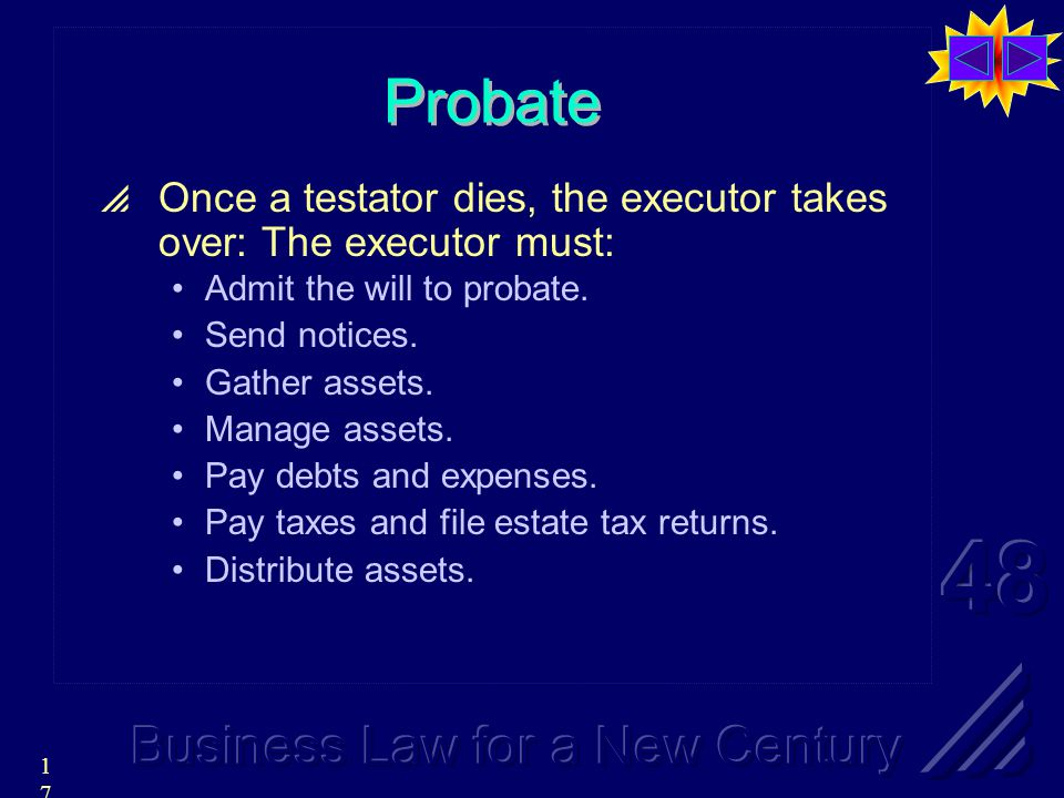 17 Probate  Once a testator dies, the executor takes over: The executor must: Admit the will to probate.