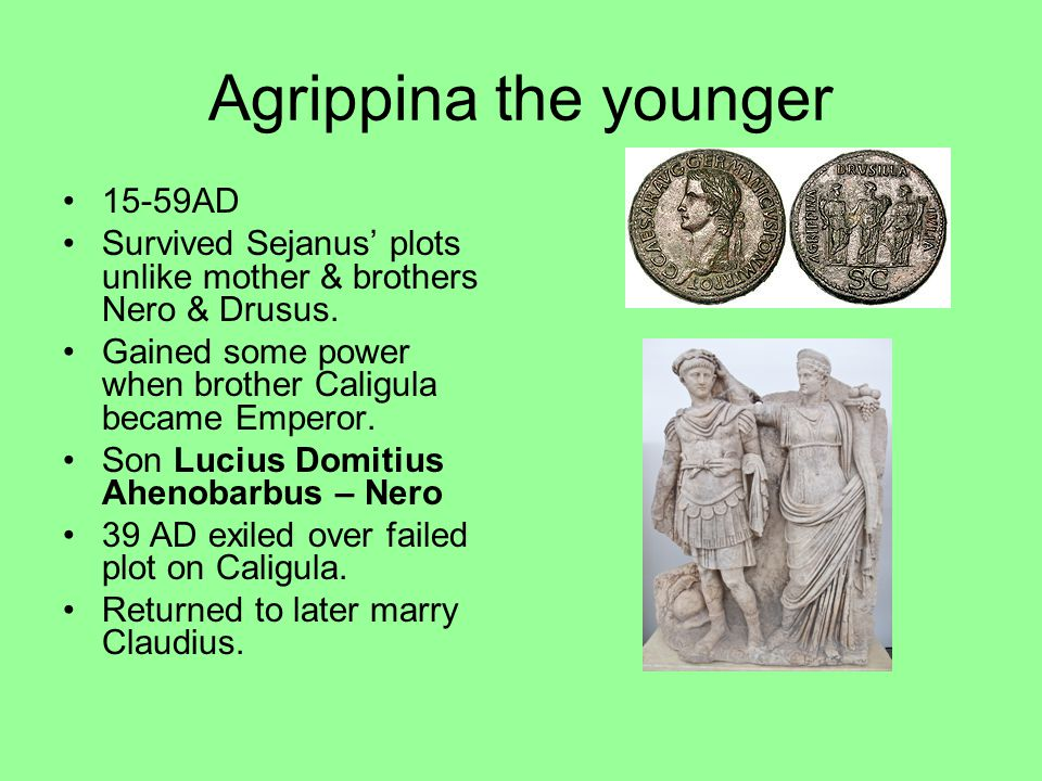 Agrippina the younger 15-59AD Survived Sejanus' plots unlike mother & brothers Nero & Drusus. Gained some power when brother Caligula became Emperor.