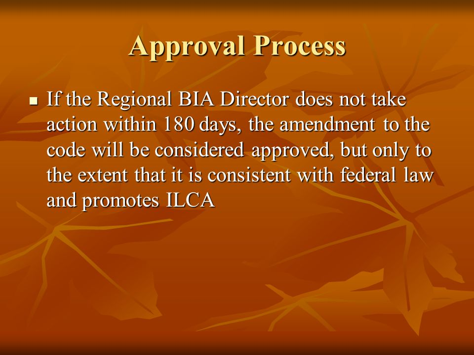 Approval Process If the Regional BIA Director does not take action within 180 days, the amendment to the code will be considered approved, but only to