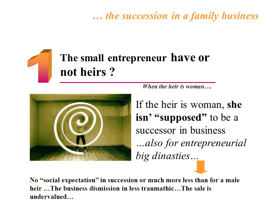 The small entrepreneur have or not heirs . When the heir is woman….