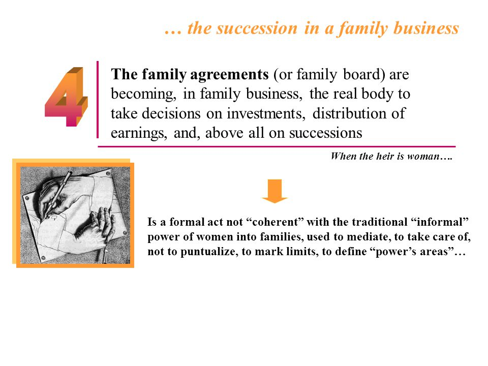 … the succession in a family business The family agreements (or family board) are becoming, in family business, the real body to take decisions on inv