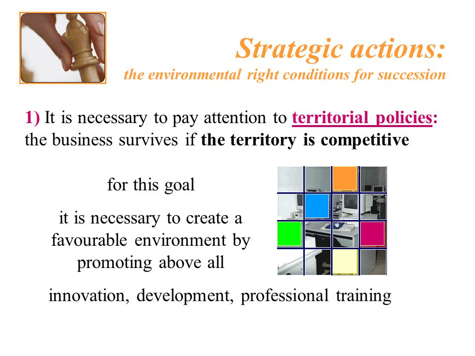 1) It is necessary to pay attention to territorial policies: the business survives if the territory is competitive Strategic actions: the environmenta