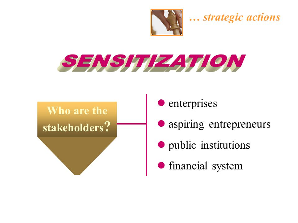 … strategic actions enterprises aspiring entrepreneurs public institutions financial system Who are the stakeholders ?