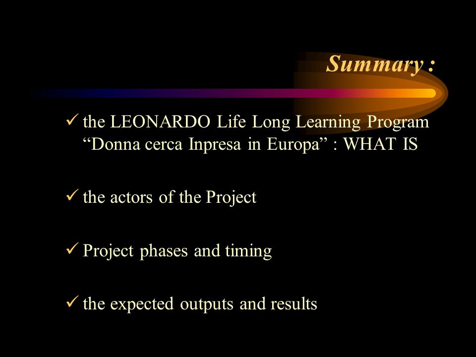 Summary : the LEONARDO Life Long Learning Program Donna cerca Inpresa in Europa : WHAT IS the actors of the Project Project phases and timing the expected outputs and results