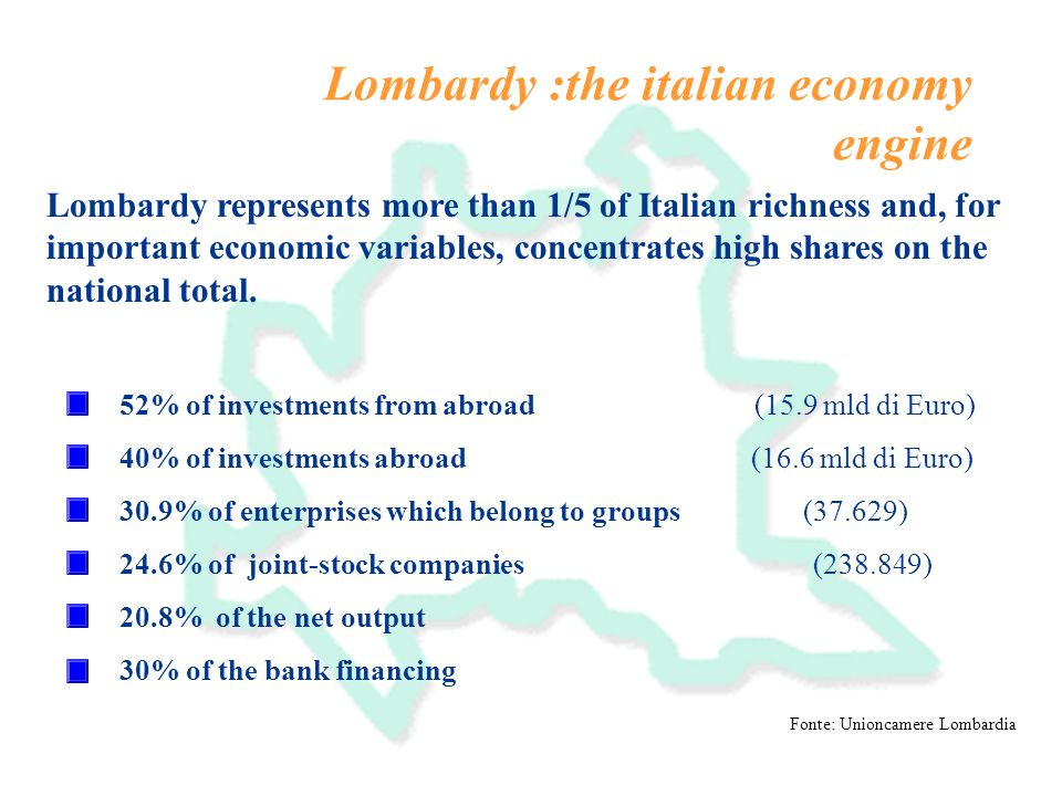 Lombardy :the italian economy engine Fonte: Unioncamere Lombardia Lombardy represents more than 1/5 of Italian richness and, for important economic variables, concentrates high shares on the national total.