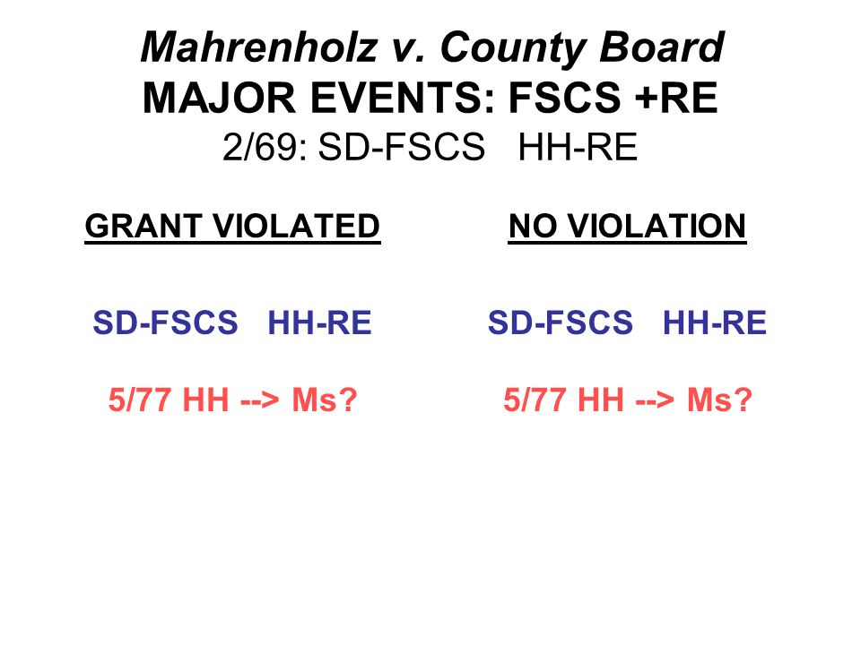 Mahrenholz v. County Board MAJOR EVENTS: FSCS +RE 3/51: SD-FSCS Hs-RE 2/69: Mrs.H dies intestate; HH sole heir SD-FSCS HH-RE 5/73: Property used for s