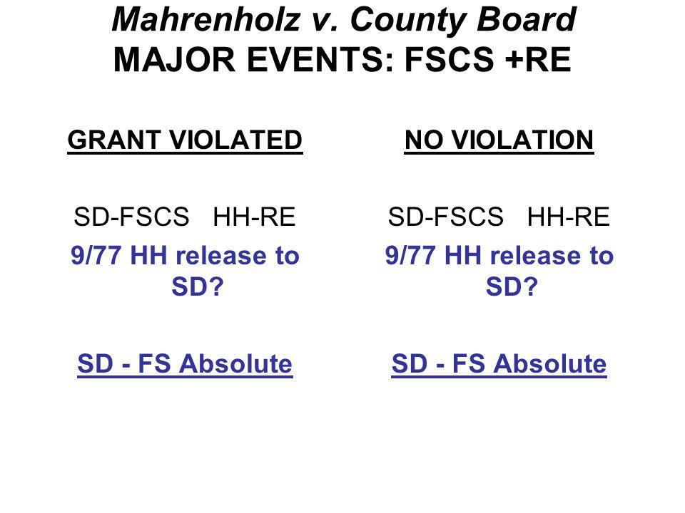 Mahrenholz v. County Board MAJOR EVENTS: FSCS +RE GRANT VIOLATED SD-FSCS HH-RE 5/77 HH --> Ms.
