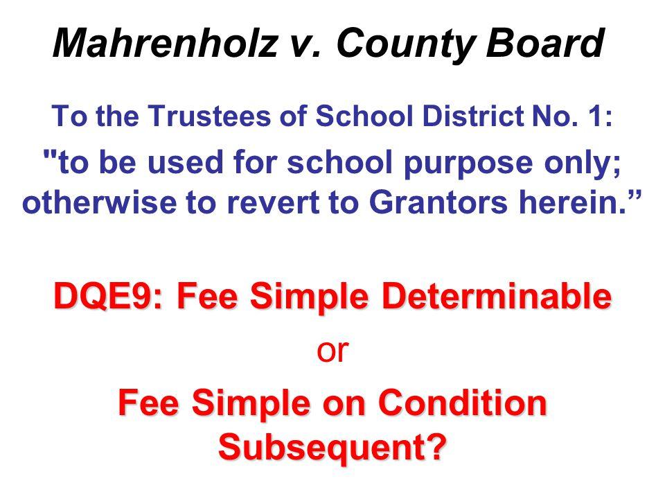 Mahrenholz v. County Board DQs E9-E12 Fleetwood Mac