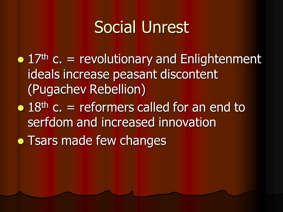 Social Unrest 17 th c.