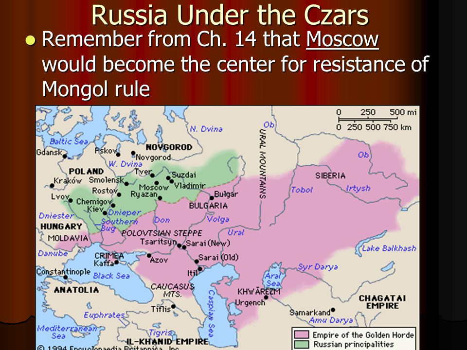 Russia Under the Czars Remember from Ch.